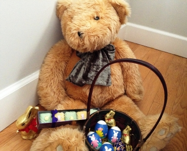 Jimmy bear with easter chocolates