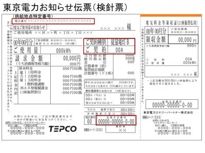 東京電力お知らせ伝票(検針票)