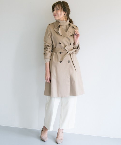 春コートレディースファッションコーデ