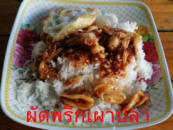 ผัดพริกเผาปลานึก タイ料理メニュー