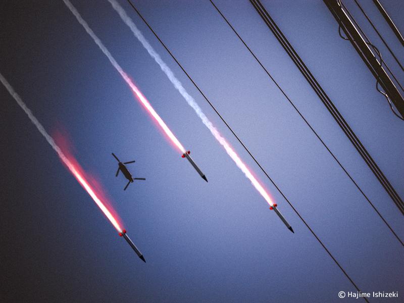 北のミサイルとCH47輸送ヘリ