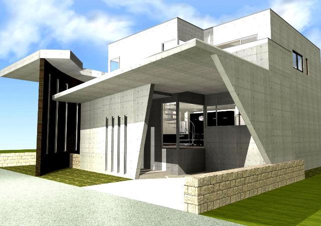 文住宅 滋賀 京都 滋賀県 大津市 RC造 ガレージハウス 中庭 パティオ螺旋階段