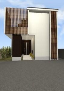 注文住宅 滋賀 滋賀県 大津市 格子 バルコニー 和モダン デザイナーズ住宅 一級建築士