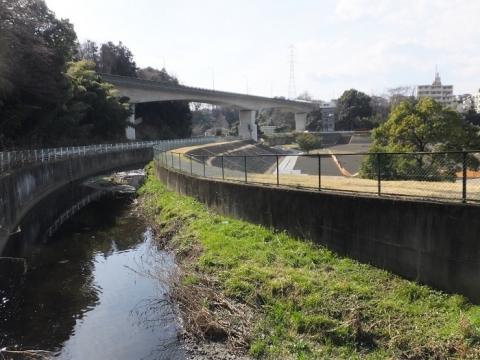 小池尻橋より目久尻川下流を望む
