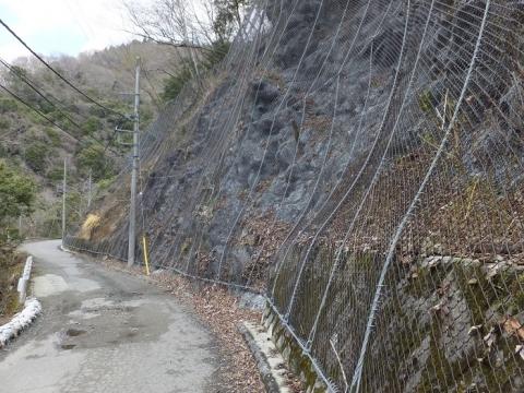 玄倉川沿い林道の落石防止ネット