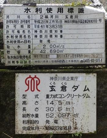 玄倉ダム水利使用標識と諸元