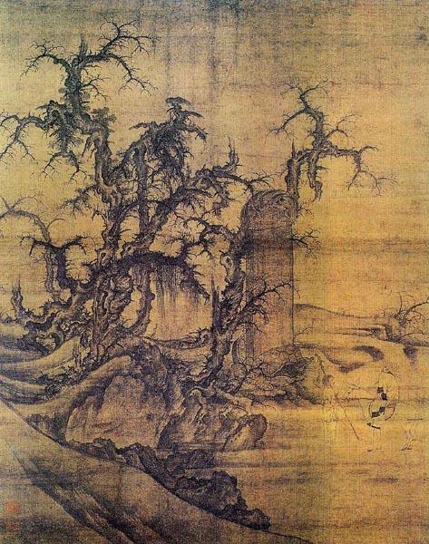 z 读碑窠石图 李成:( 919—967年),五代宋初山水画大家