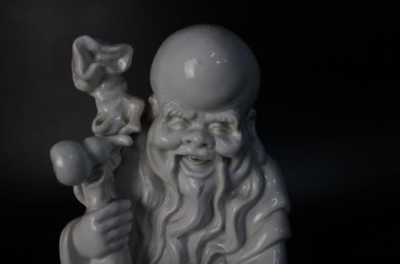 0 c 徳化窯白磁 清朝 寿老人置物b 高35.5 幅12.5 奥行10.5cm