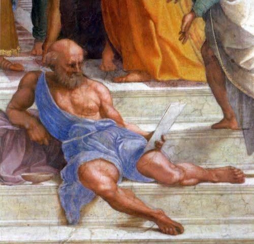 zzd ラファエロ作「アテナイの学堂」に見るディオゲネス・中央の階段付近でだらしなく腰掛けている