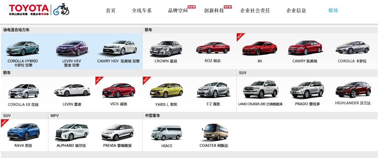 丰田中国 全线车系