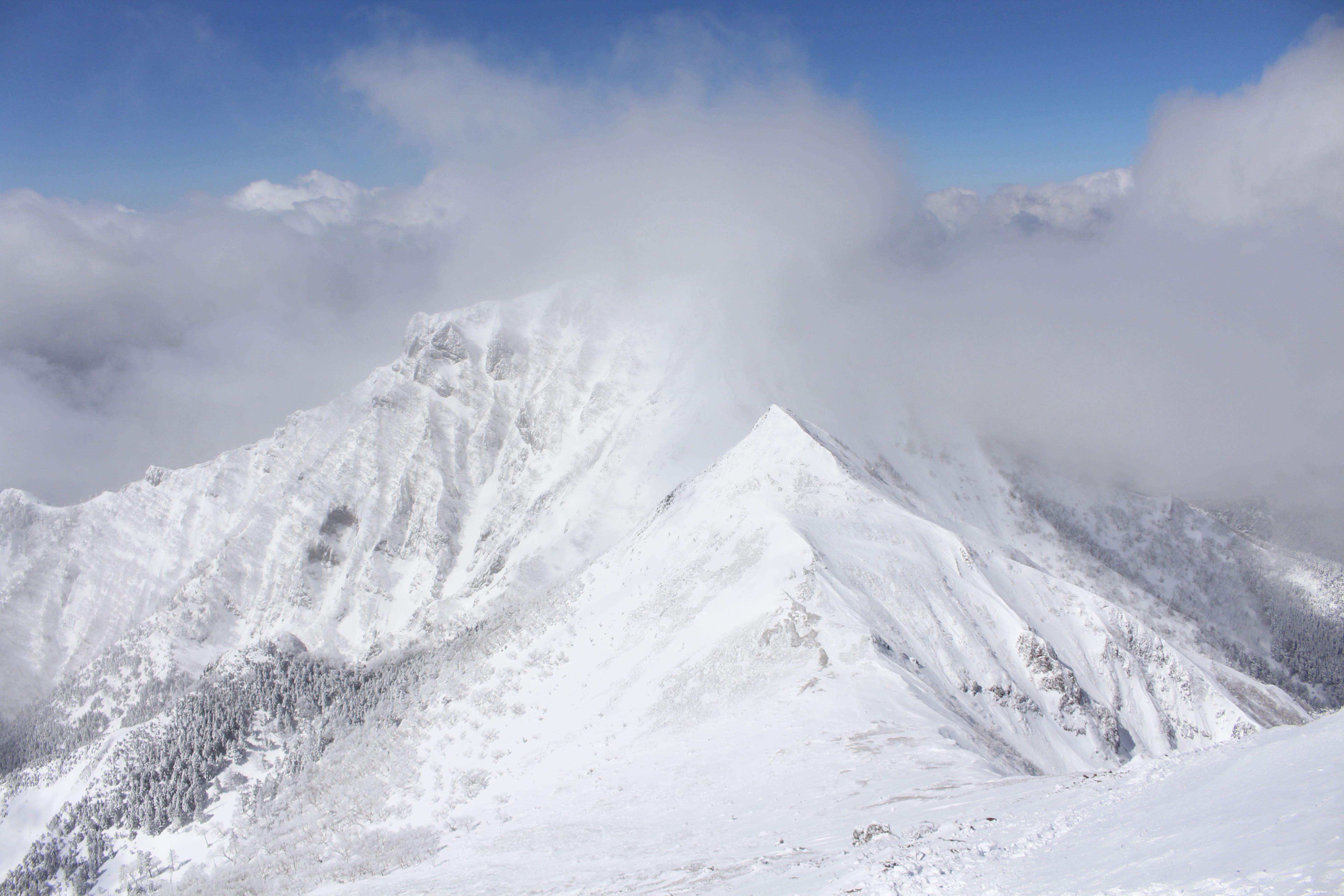 20170303中岳と阿弥陀岳