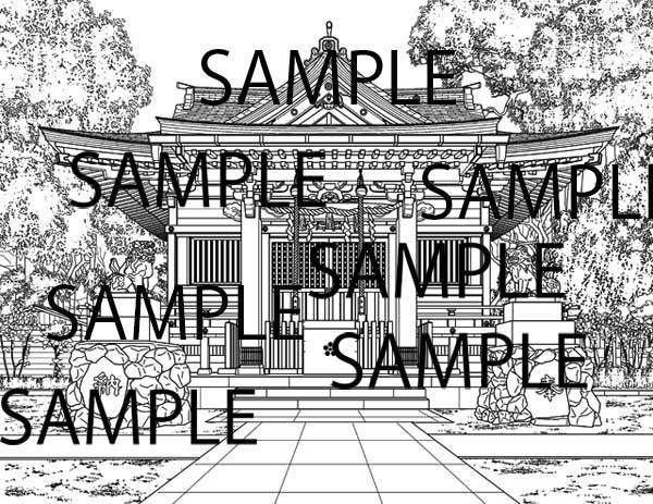漫画背景素材「神社」イラスト