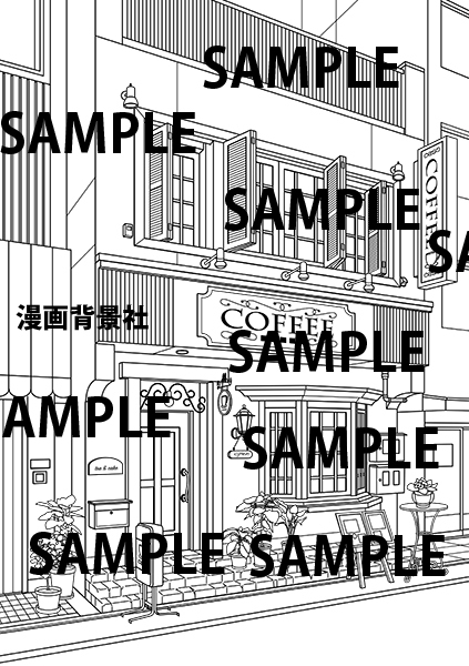 漫画背景素材「喫茶店」イラスト