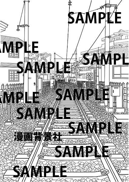 コミック背景素材「線路」イラスト