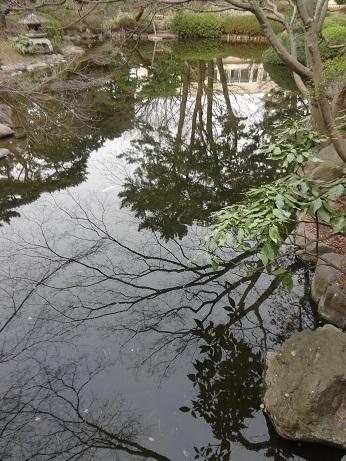 日本庭園橋上
