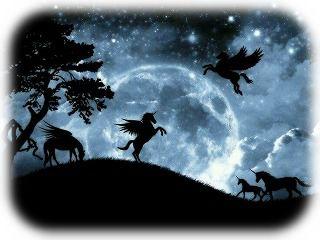 満月とユニコ