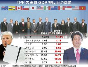 TPPの実質GDP押し上げ効果