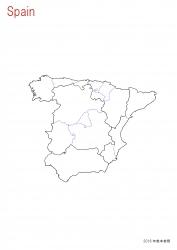 スペイン全土白地図①