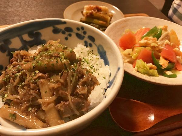 Apr06_ゴボウと牛肉丼