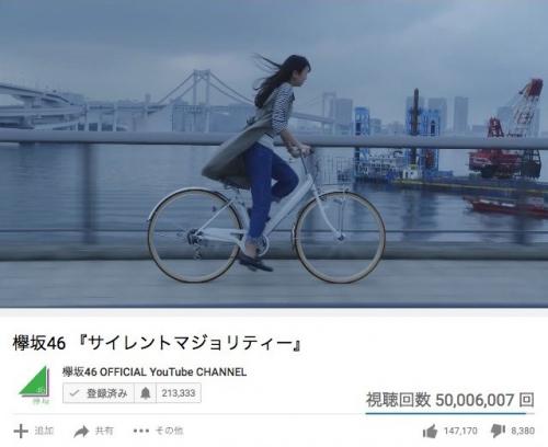 【欅坂46】「サイレントマジョリティー」のMVが再生数5000万回突破!