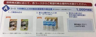 日本たばこ産業の株主優待 100株保有者選択肢