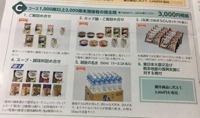 日本たばこ産業の株主優待 1,000株以上保有者選択肢