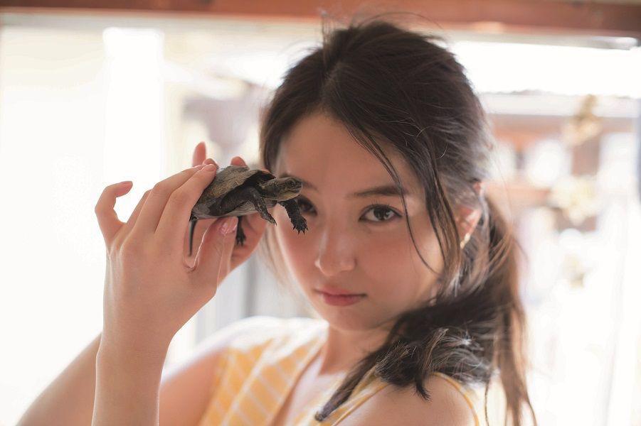 亀を持つ佐々木希