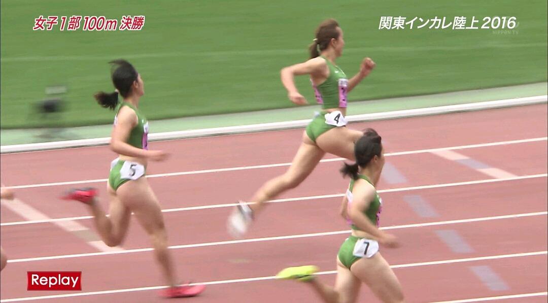 関東インカレ陸上2016で走る女子選手のパンツ食い込みお尻