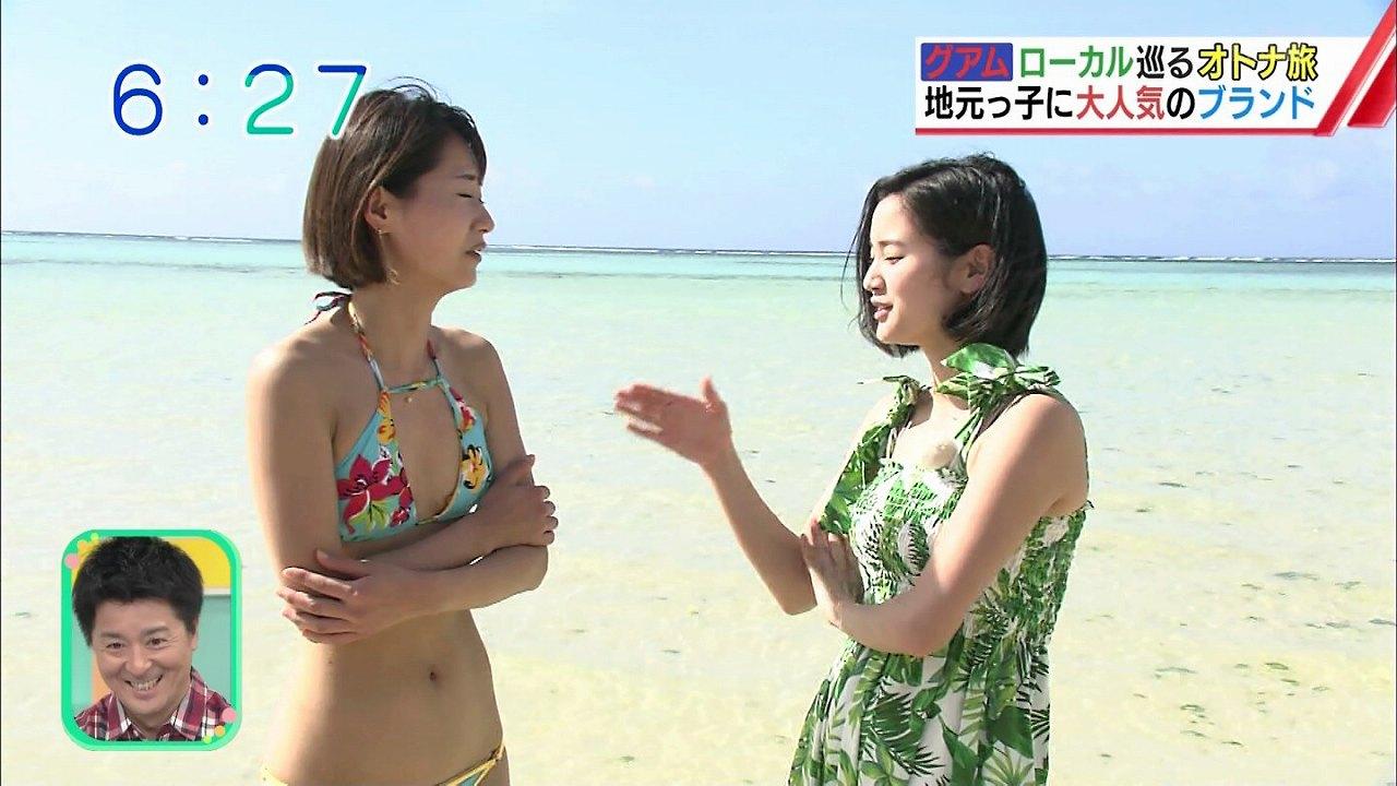 ABC朝日放送「おはようコールABC」のグアムレポートで極小水着を着た吉川亜樹