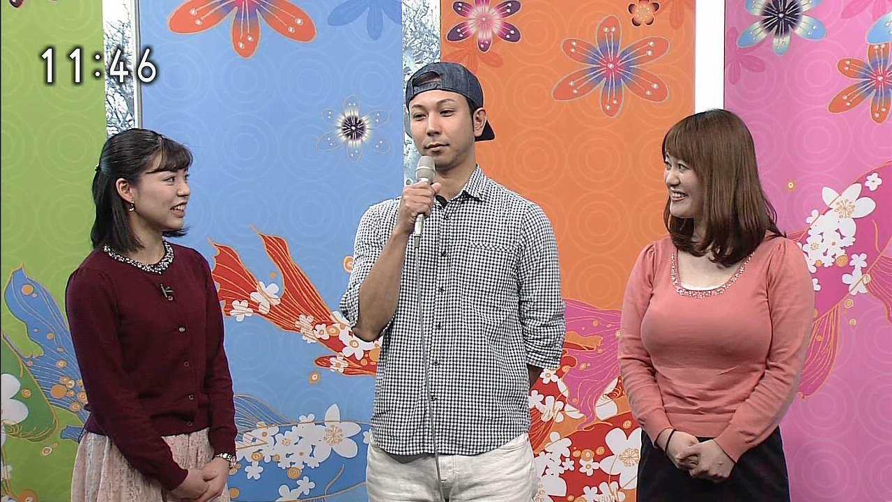 NHKの番組にニットを着て出演した竹中知華の着衣巨乳