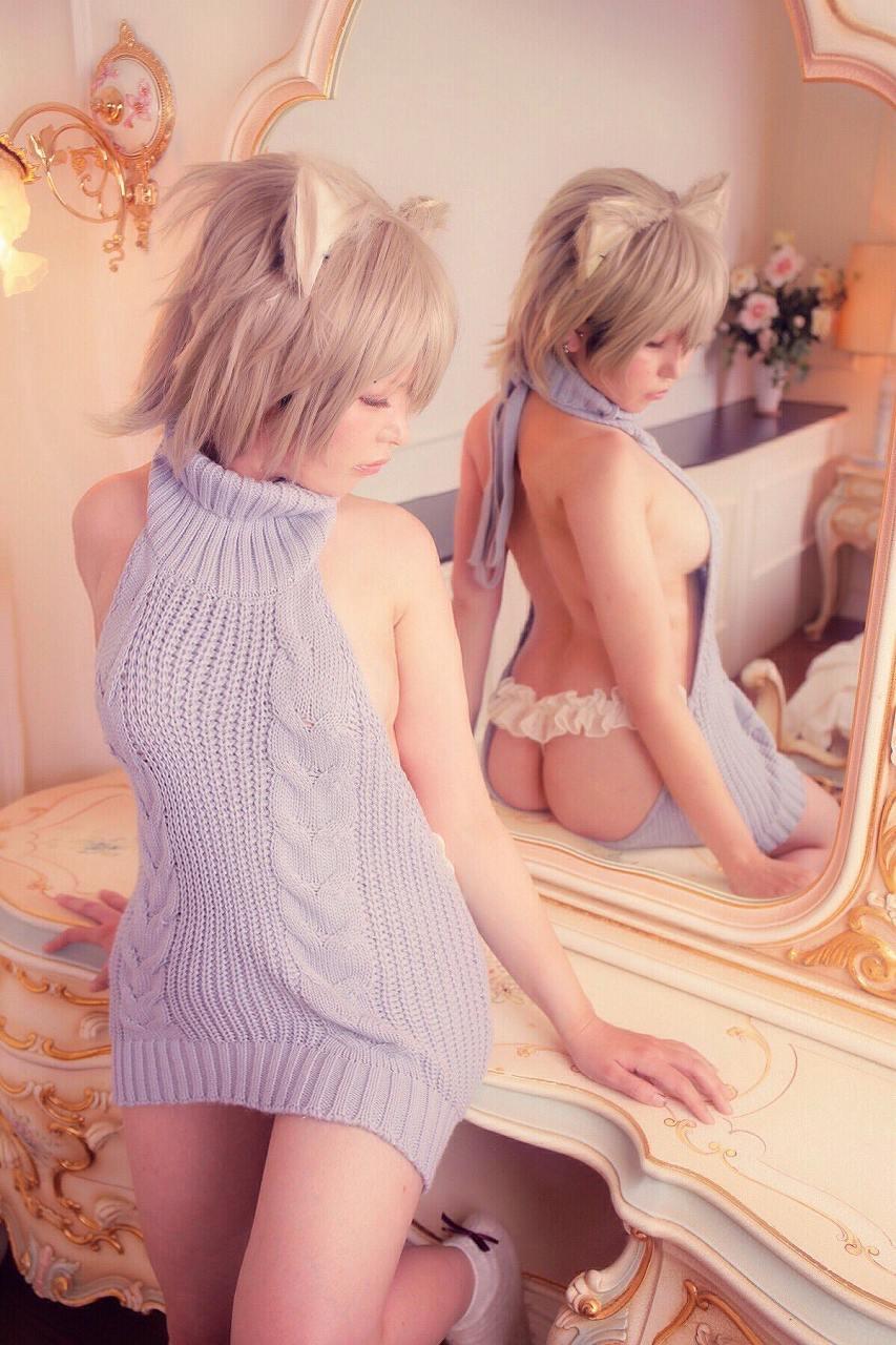 童貞を殺すセーターを着た女のTバックお尻