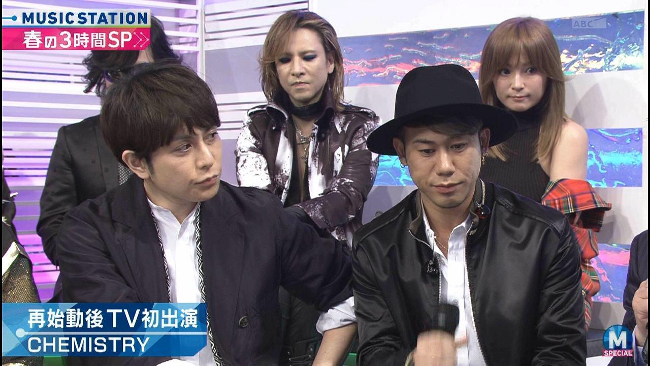 3月31日「ミュージックステーション」に出演した浜崎あゆみとYOSHIKIとCHEMISTRY(ケミストリー)