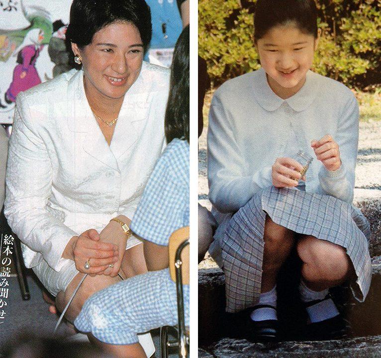スカートでしゃがんでしゃがみパンチラしている雅子さまと愛子さま