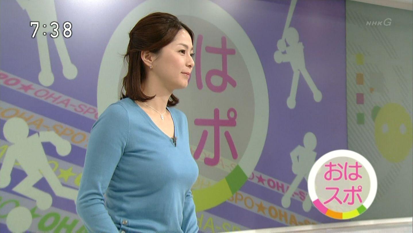 NHKでニットを着た杉浦友紀アナの着衣巨乳
