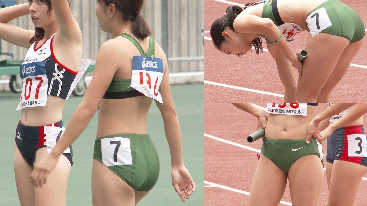 ピチピチの極小ユニフォームを着た女子陸上選手