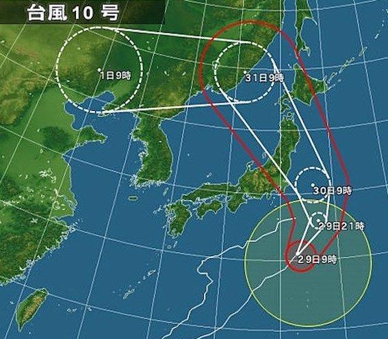 台風10号のルート