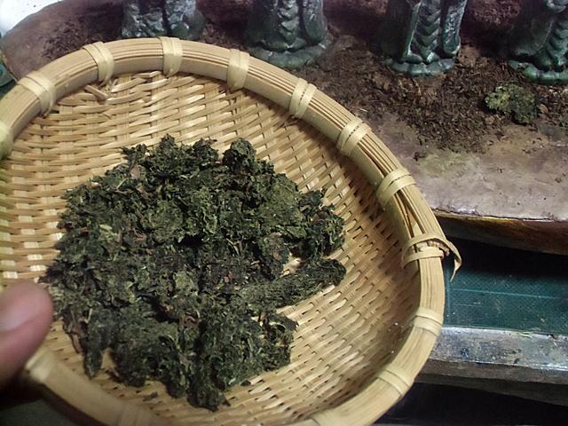 乾燥させたお茶ガラ