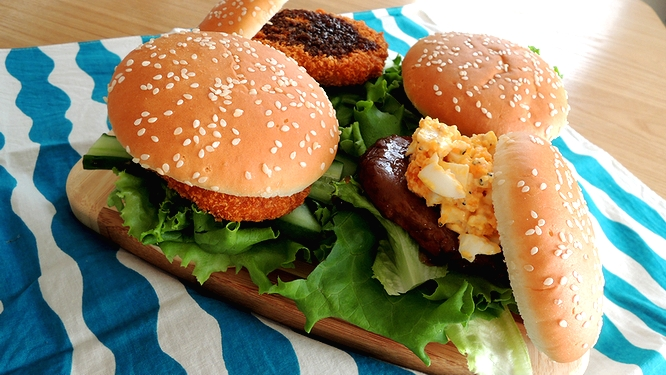 ハンバーガー弁当ズーム