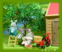 森のお家 グレーウサギ夫婦