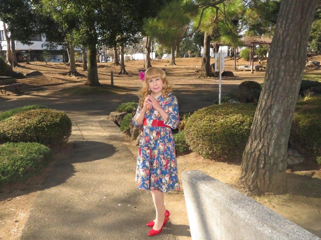 花柄ワンピ赤い靴B(4)
