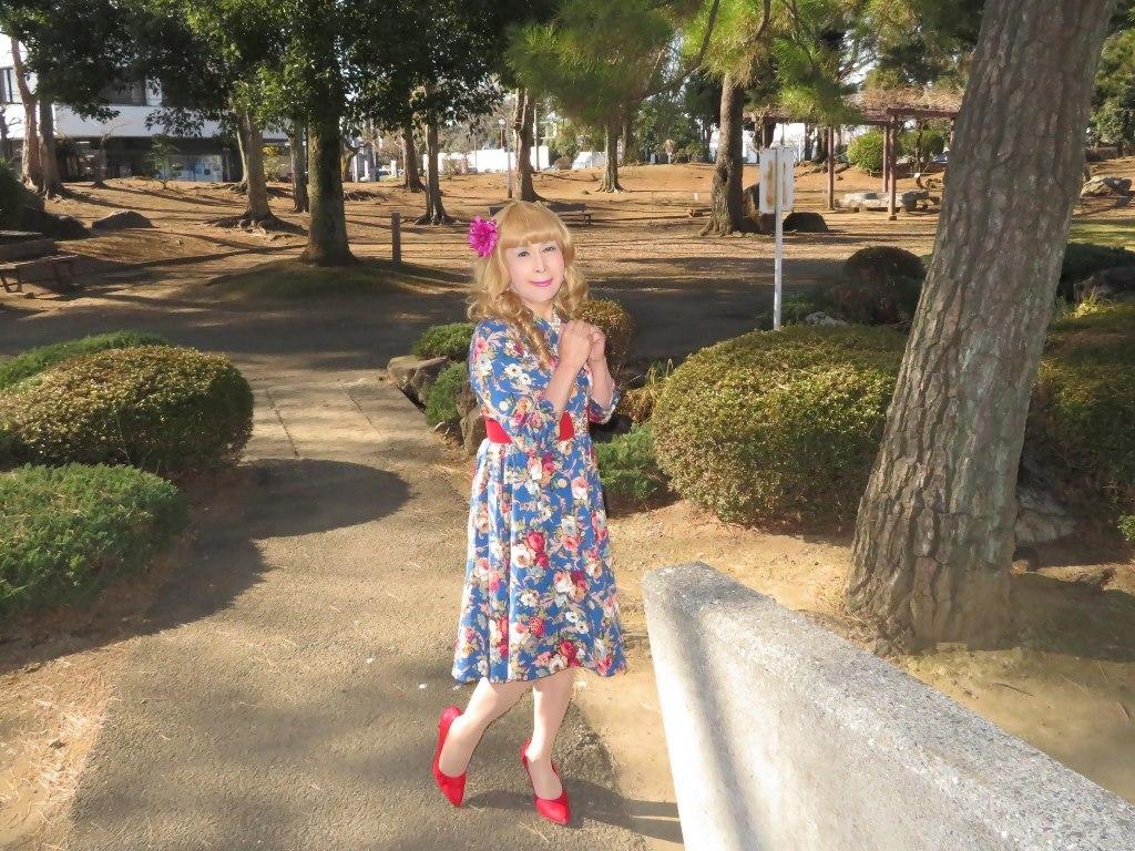 花柄ワンピ赤い靴B(5)