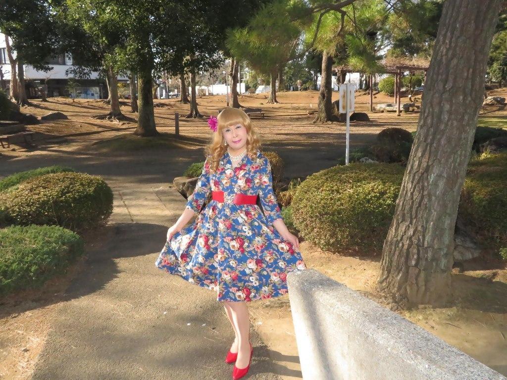 花柄ワンピ赤い靴B(6)