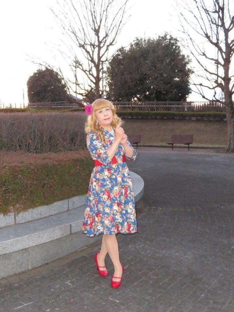 花柄ワンピ赤い靴C(6)