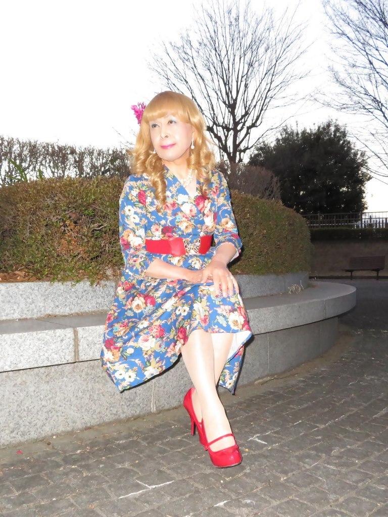 花柄ワンピ赤い靴C(8)