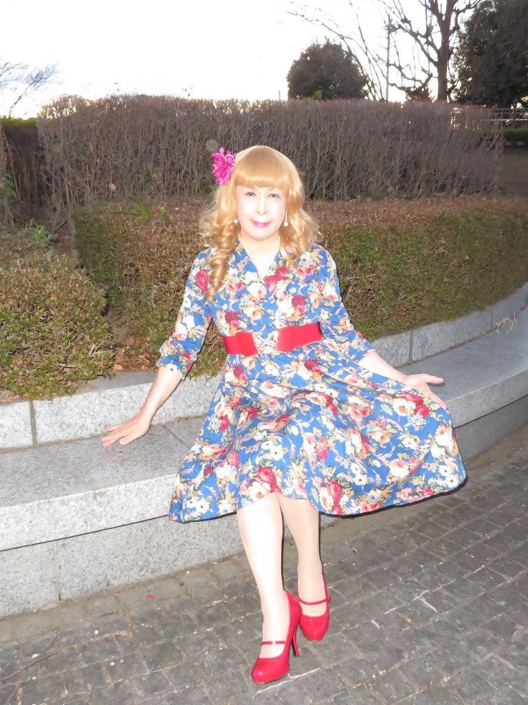 花柄ワンピ赤い靴C(7)