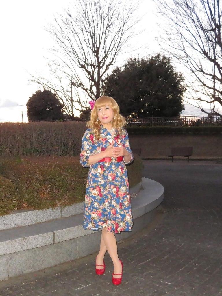 花柄ワンピ赤い靴C(3)