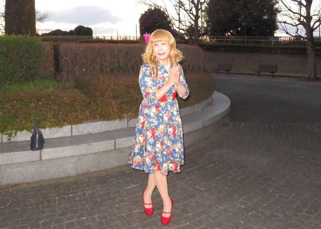 花柄ワンピ赤い靴D(3)