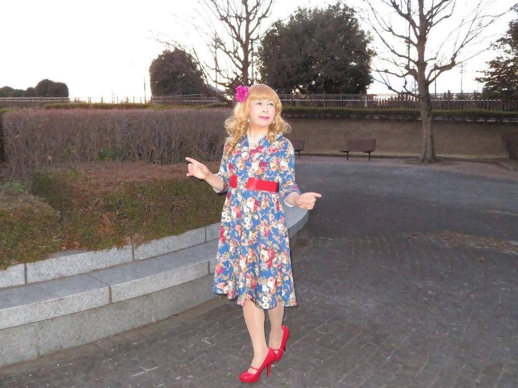 花柄ワンピ赤い靴D(4)