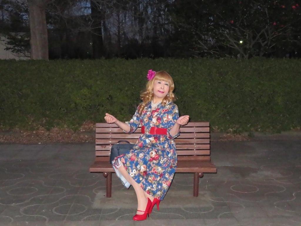 花柄ワンピ赤い靴D(7)