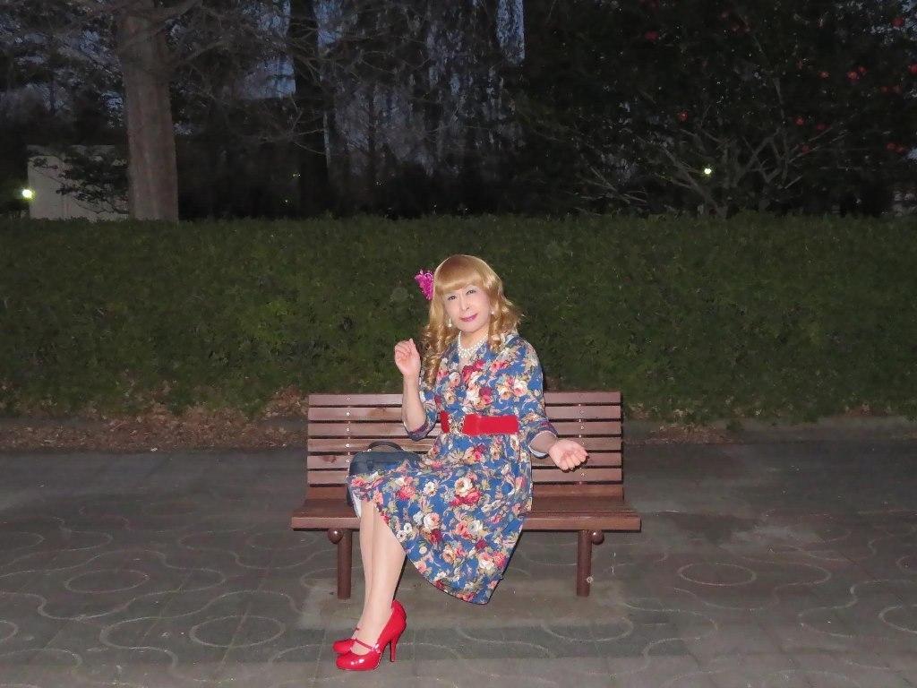 花柄ワンピ赤い靴D(8)